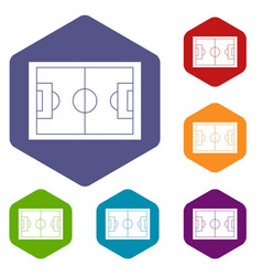 soccer field icons set hexagon vector image
