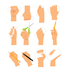 Hands with cards pencil and scissirs vector