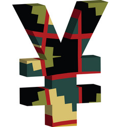 3d yen symbol vector