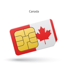 Canada mobile phone sim card with flag vector