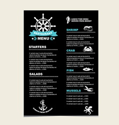 Seafood cafe menu grill template design vector