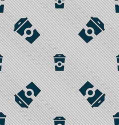 Breakfast coffee icon sign seamless pattern with vector