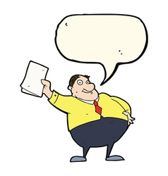 Cartoon boss waving papers with speech bubble vector