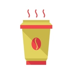 Hot coffee cup flat style vector
