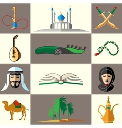 Arabic middle east flat icons vector
