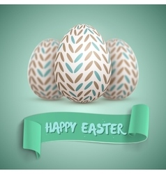 Realistic happy easter easter egg set vector