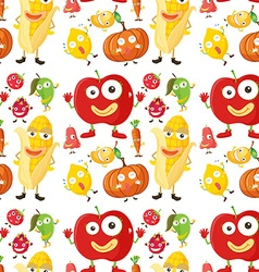 Seamless background with fruits and veggies vector