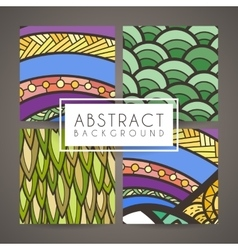 Set of four colorful intricate patterns vector