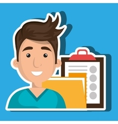 Man with folder and clipboard isolated icon design vector