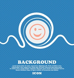Winking face sign icon blue and white abstract vector