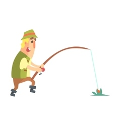 Amateur fisherman in khaki clothes seeing the fish vector