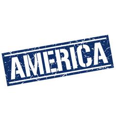 America blue square stamp vector