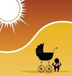 baby and baby stroller color vector image vector image