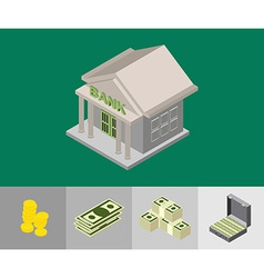 bank isometric icons vector image vector image