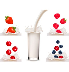 big set with berry with milk and milk vector image vector image