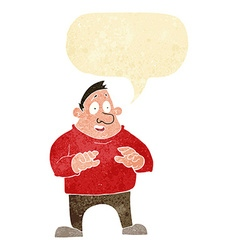 Cartoon excited overweight man with speech bubble vector