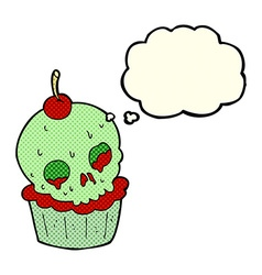 Cartoon halloween cup cake with thought bubble vector