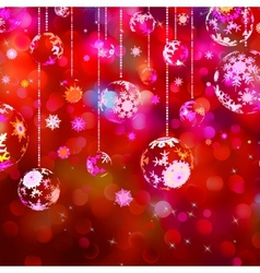 Christmas baubles on red sparkly eps 10 vector
