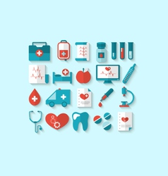 Collection modern flat icons of medical elements vector image vector image