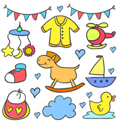 Collection of baby colorful various object doodles vector