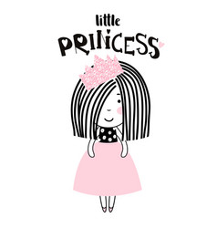 cute little girl print girl ballerina with pink vector image