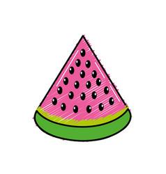 Delicios slice watermelon fruit food vector