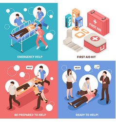 first aid isometric concept vector image