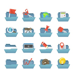 Folders collection with different content vector image vector image
