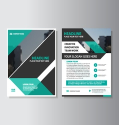Green black annual report leaflet brochure set vector