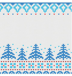 handmade knitted background pattern with christmas vector image vector image