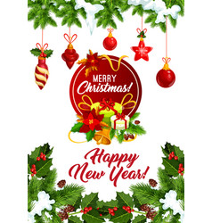 happy new year christmas tree greeting card vector image vector image