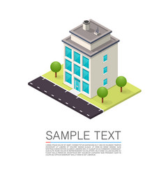 isometric road house art sign vector image vector image