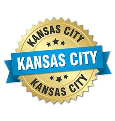 Kansas city round golden badge with blue ribbon vector