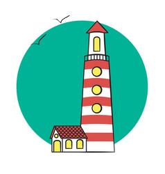 Lighthouse on the sea vector