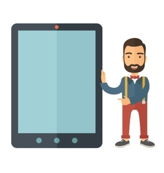 Man with big screen tablet vector image vector image