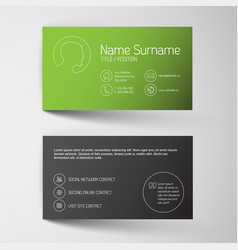 Modern green business card template with simple vector