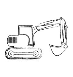 Monochrome contour hand drawing of backhoe vector