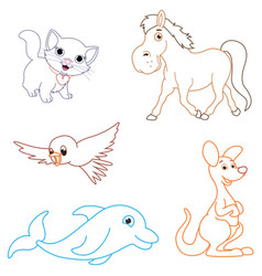 of a cartoon animals vector image vector image