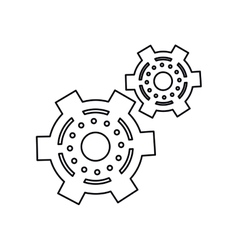 Pictogram two gear wheel engine cog icon vector