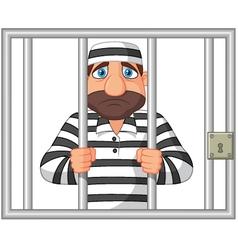 Prisoner behind bar vector