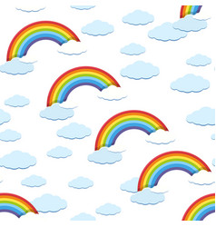 Seamless background template with rainbow and vector