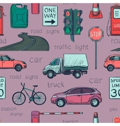 Seamless pattern of traffic laws icons vector