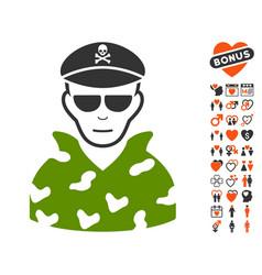 Swat soldier icon with valentine bonus vector