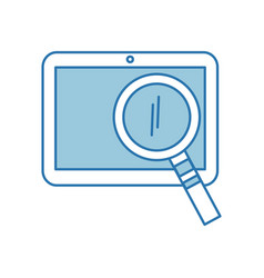 Tablet device with magnifying glass vector