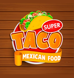 Taco label logo sticker vector
