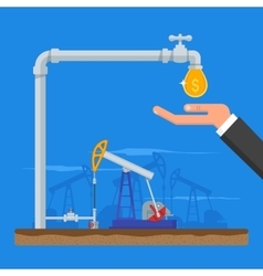 Transform oil to money concept get cash from pipe vector
