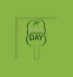 tree on a green background world environment day vector image vector image