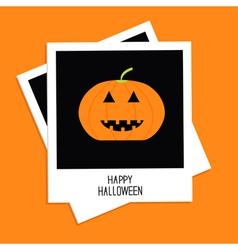 Two instant photos with pumpkin happy halloween vector