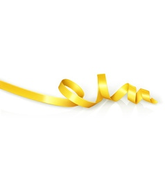 Yellow curled ribbon party vector image vector image