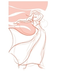 Young women bohemian chic outfit gesture sketch vector